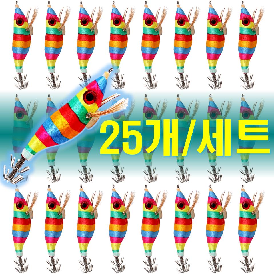 예피싱 25개입 왕눈이 에기 세트 쭈꾸미 갑오징어 문어채비 야광애기, YF15