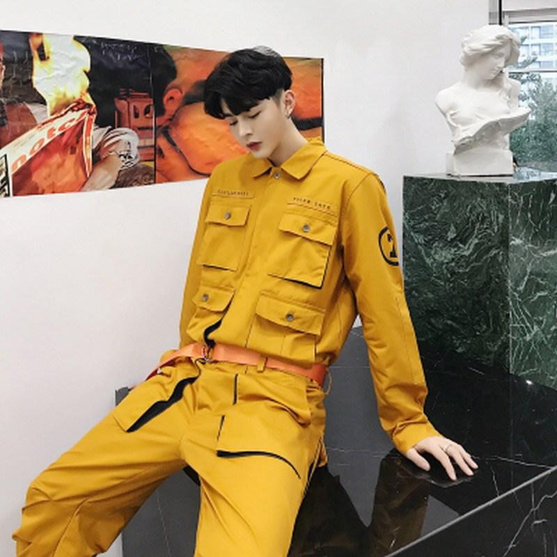 남성 점프수트 캐주얼 오버핏 작업복 포켓 벨트 슈트