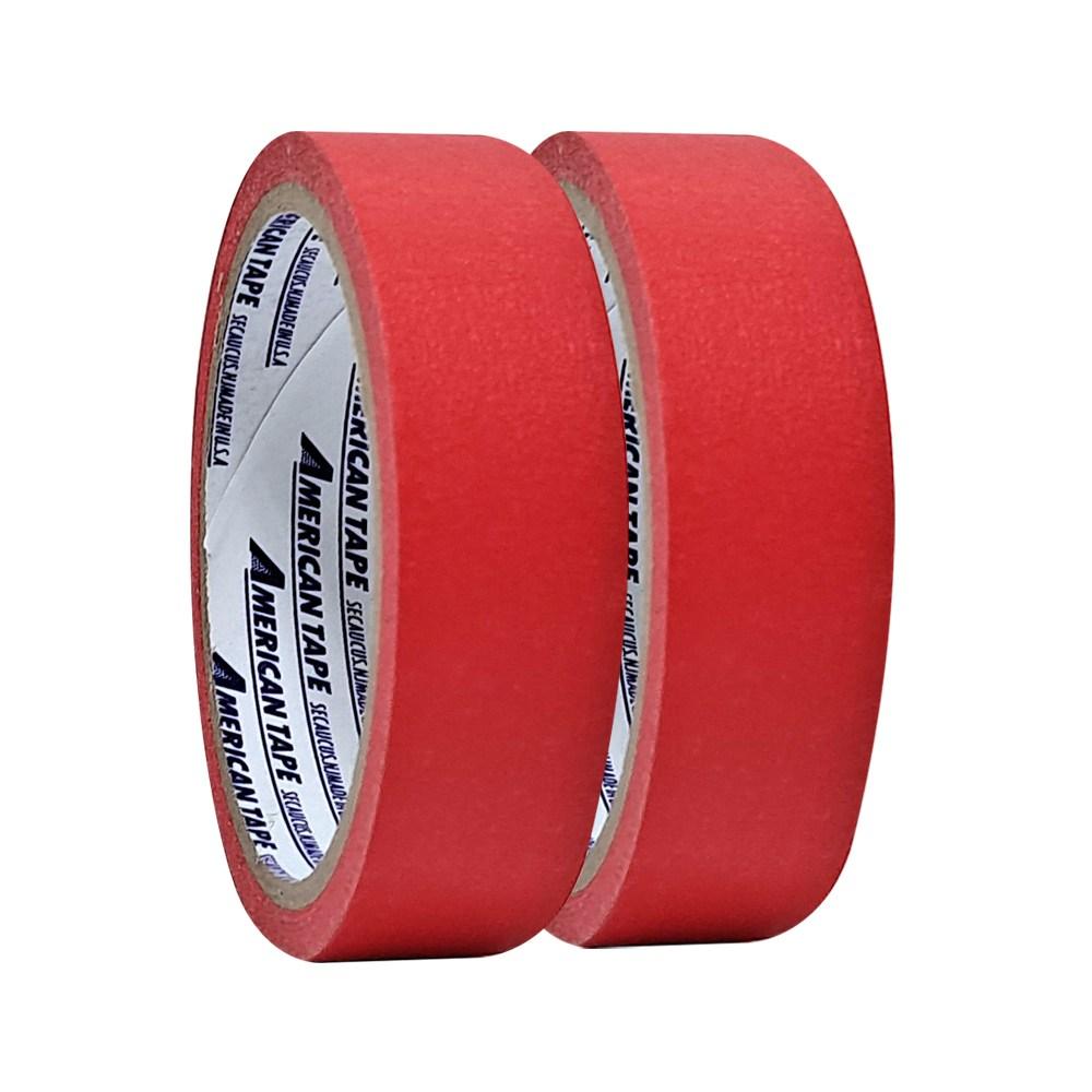 홀스파워 칼라 마스킹테이프 색깔 컬러 종이테이프, 1개, 빨강(25mm x 15Y-2롤)