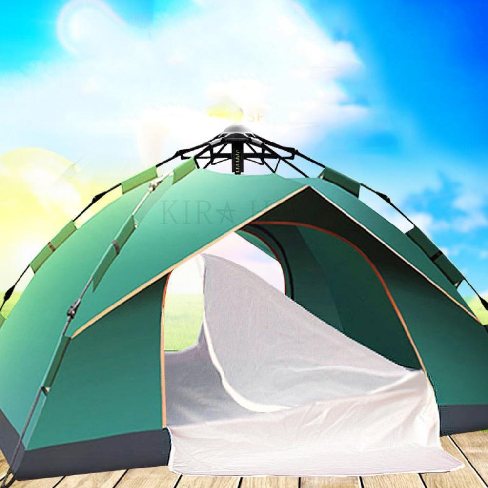 kirahosi 캠핑용품 텐트 캠핑 원터치 팝업 자동 낚시 텐트 D 27 +덧신 증정 BW6cnuc8, 국방색 액체 압력 식 3~4 인용, 1