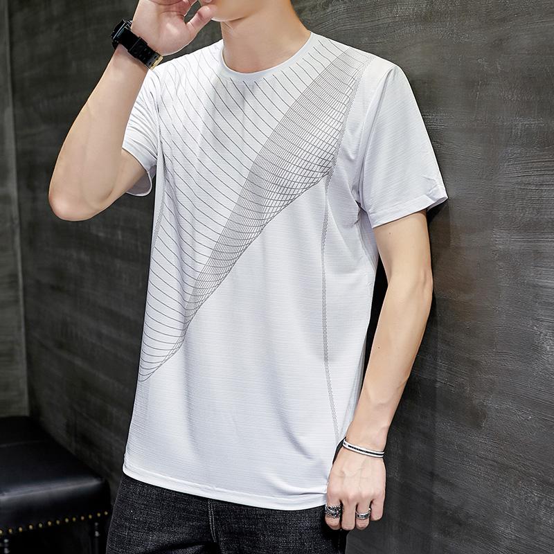 여름 남성 반팔 티셔츠 스 실크 드라이 에어컨 셔츠 루즈 반소매 상의 남장