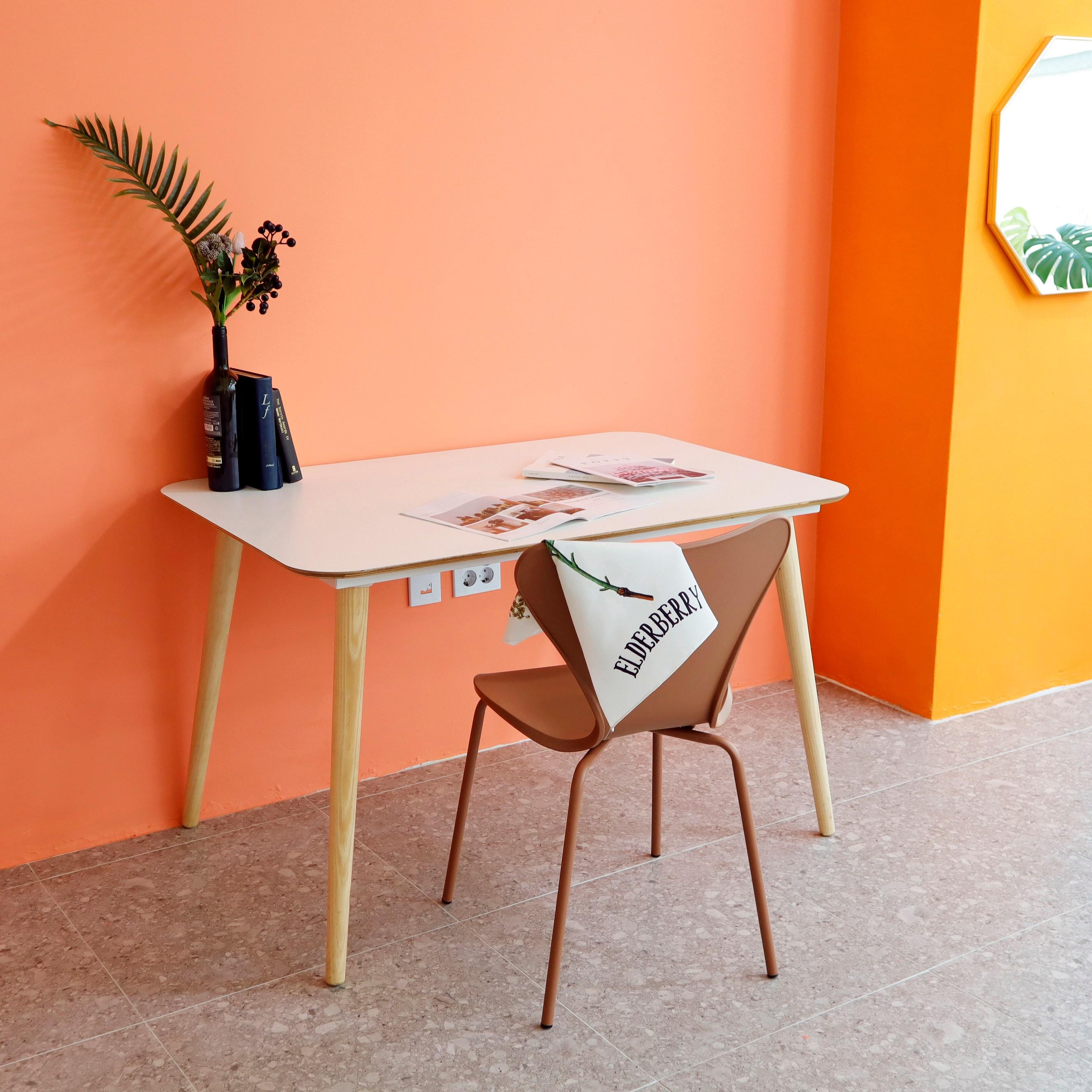 체나레 HPM 멜라민 화이트 카페 테이블 1200