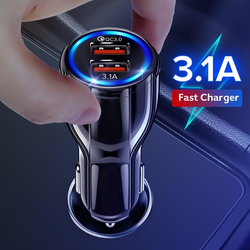 Getihu 3.1a 18 w 자동차 충전기 빠른 충전 3.0 듀얼 usb 어댑터 아이폰에 대 한 빠른 충전 삼성 xiaomi 휴대 전화 자동차 충전기, 1개, White