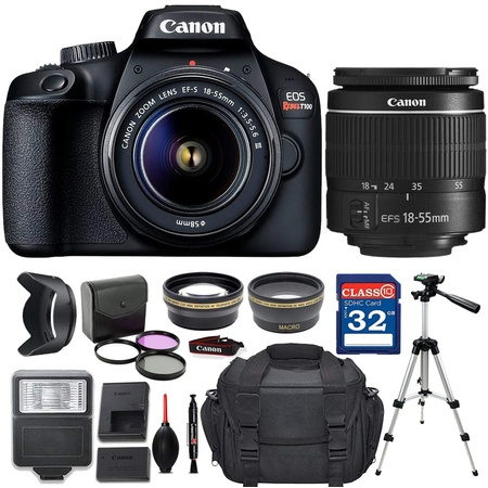 해외Canon 캐논 EOS Rebel T100 4000D DSLR 카메라 EF-S 18-55mm f3.5-5.6 III 렌즈 + 디럭스 액세서리, 상세 설명 참조0