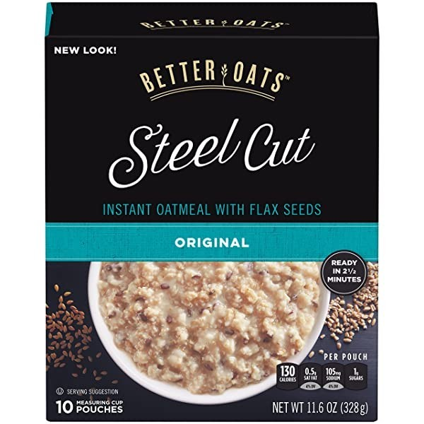 Better Oats Steel Cut Instant Oatmeal with Flax Seeds 베터 오트 스틸 컷 플랙스 시드 오트밀 328g 6팩, Steel Cut Original_6팩