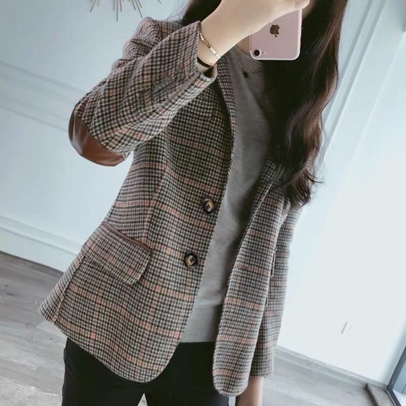 여성 모직 체크 정장 코트 캐주얼 숏 자켓