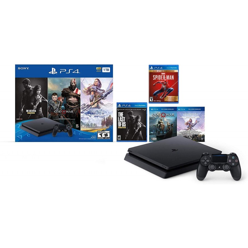 Holiday Ultimate Bundle Playstation 4 1TB Slim with/bonus Marvels Spider-Man: Game of the Year Edition:, 단일옵션
