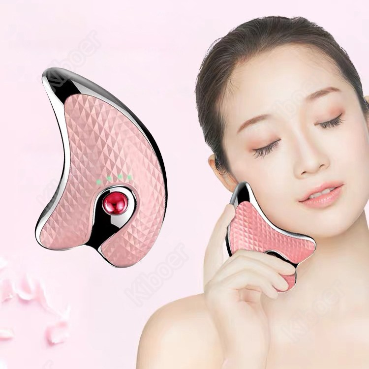 Kiboer 리프팅기 페이스 마사지기 갈바닉 온감케어 진동케어 붓기 제거 피부마사지기 홈케어 USB충전 업그레이드버전 화이트+핑크 새해 선물, 핑크, Kiboer-094