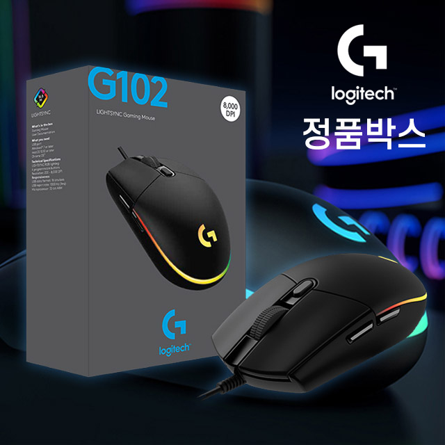 로지텍G 로지텍 G102 2세대 정품박스 게이밍 마우스 AS 1년 유선, 없음, 블랙
