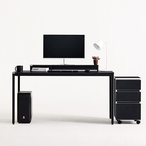 다가구 프래그마 1000 x 600 컴퓨터책상, 블랙+블랙(상판):아이보리(프레임)