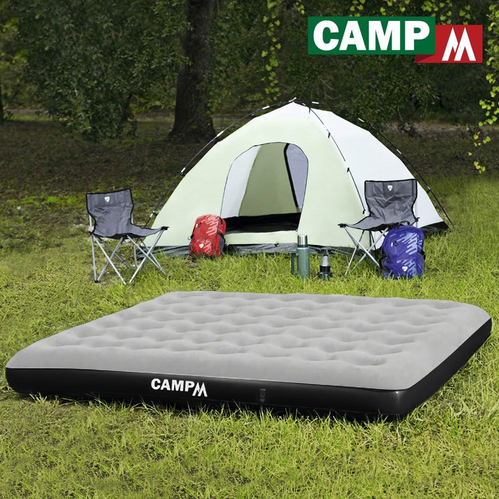 [캠프엠] 캠핑 에어 매트 킹 두꺼운 매트리스 베드 침대 텐트 차량 4인 용품, 킹size_에어매트