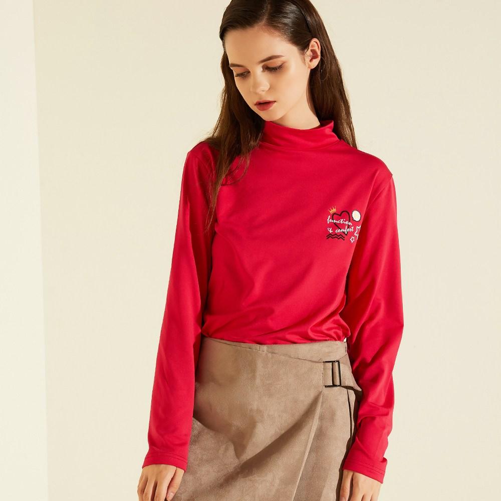 김영주골프 Wales 여성골프웨어 터틀넥 기모티셔츠 D-PINK