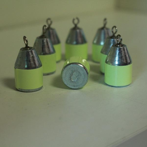 JSF 친환경 야광 회전도래 회전고리 다운샷 강철봉돌 강철추 싱커(야광테입 부착)