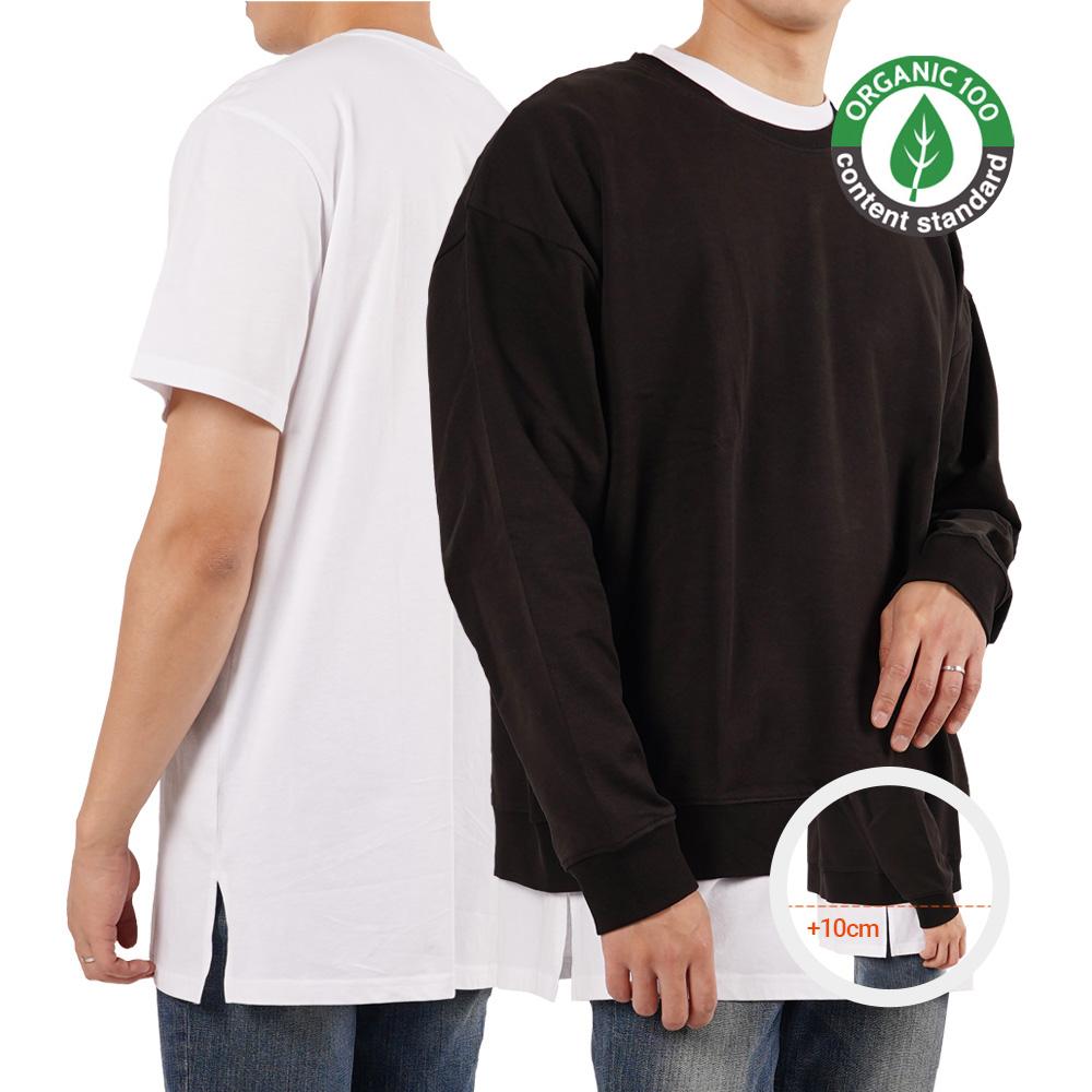오가닉 코튼 100% 프리미엄 무지 롱 레이어드 티셔츠 사이드 절개 +10cm