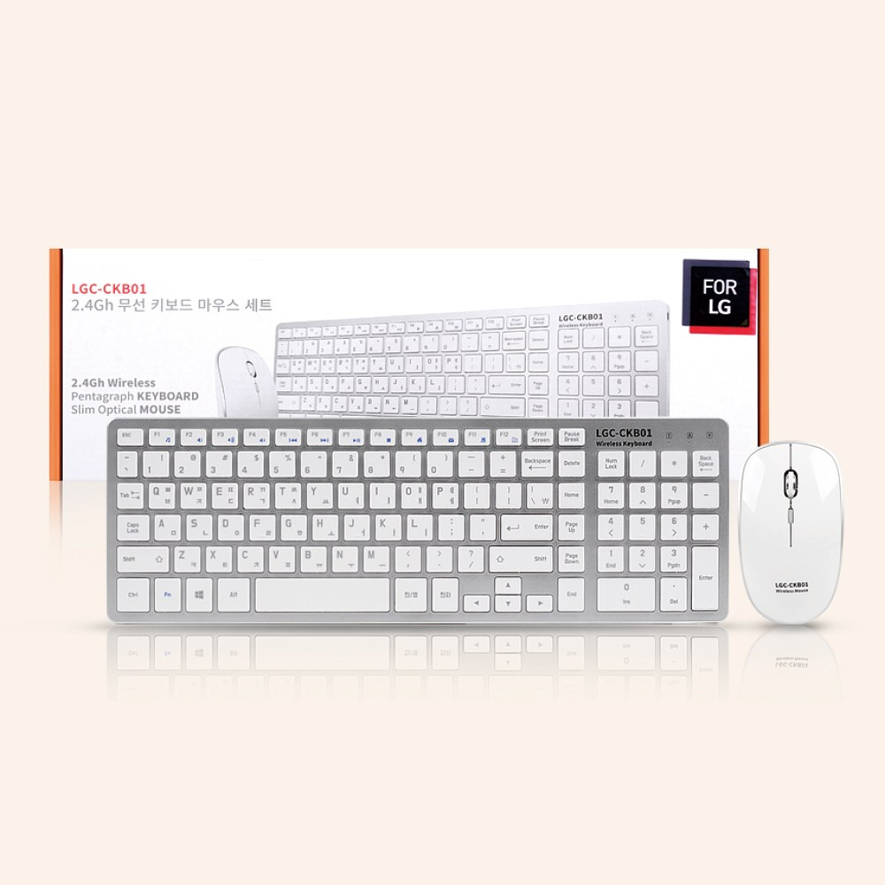 FOR LG LGC-CKB01 무선키보드 무선마우스세트, 화이트
