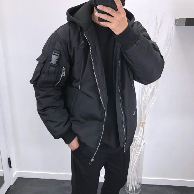 내입옷 멀티포켓 오버핏 테크웨어 후드항공점퍼