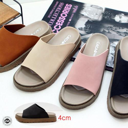 SINSINGO 여성 발이편안한 데일리 키높이 이중쿠션 푹신한 패션 슬리퍼 사무실용 실내화 외출용 4cm 경량 고무굽 착화감 굿굿