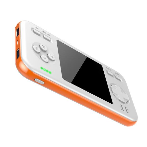 데이터 프로그 보조배터리 400 레트로 게임기, 화이트 오렌지