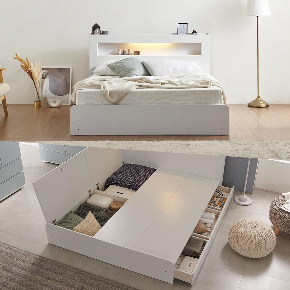 크렌시아 마커스 LED 수납형 퀸 침대 Q+본넬 매트리스+방수커버  화이트파란들 마이티 멀티수납더블침대(파워B.N매트포함)