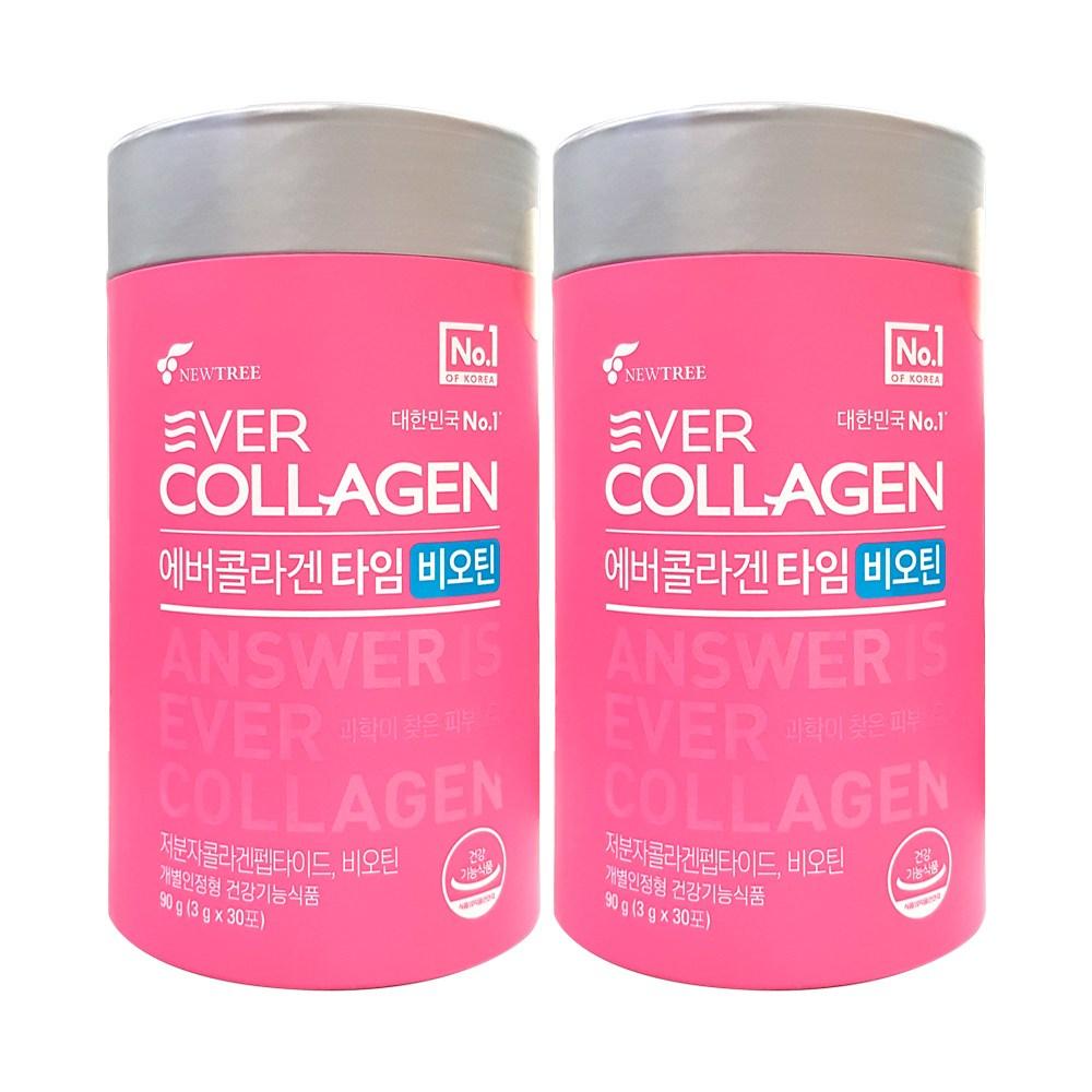 [뉴트리] 김사랑 에버콜라겐 타임 비오틴 30포 식약처 기능성 먹는 저 분자 저분자 피쉬 피시 어류 콜라겐 펩타이드 가루 분말 홈쇼핑 상품 피부영양제 비오틴30대 피부관리, 2통