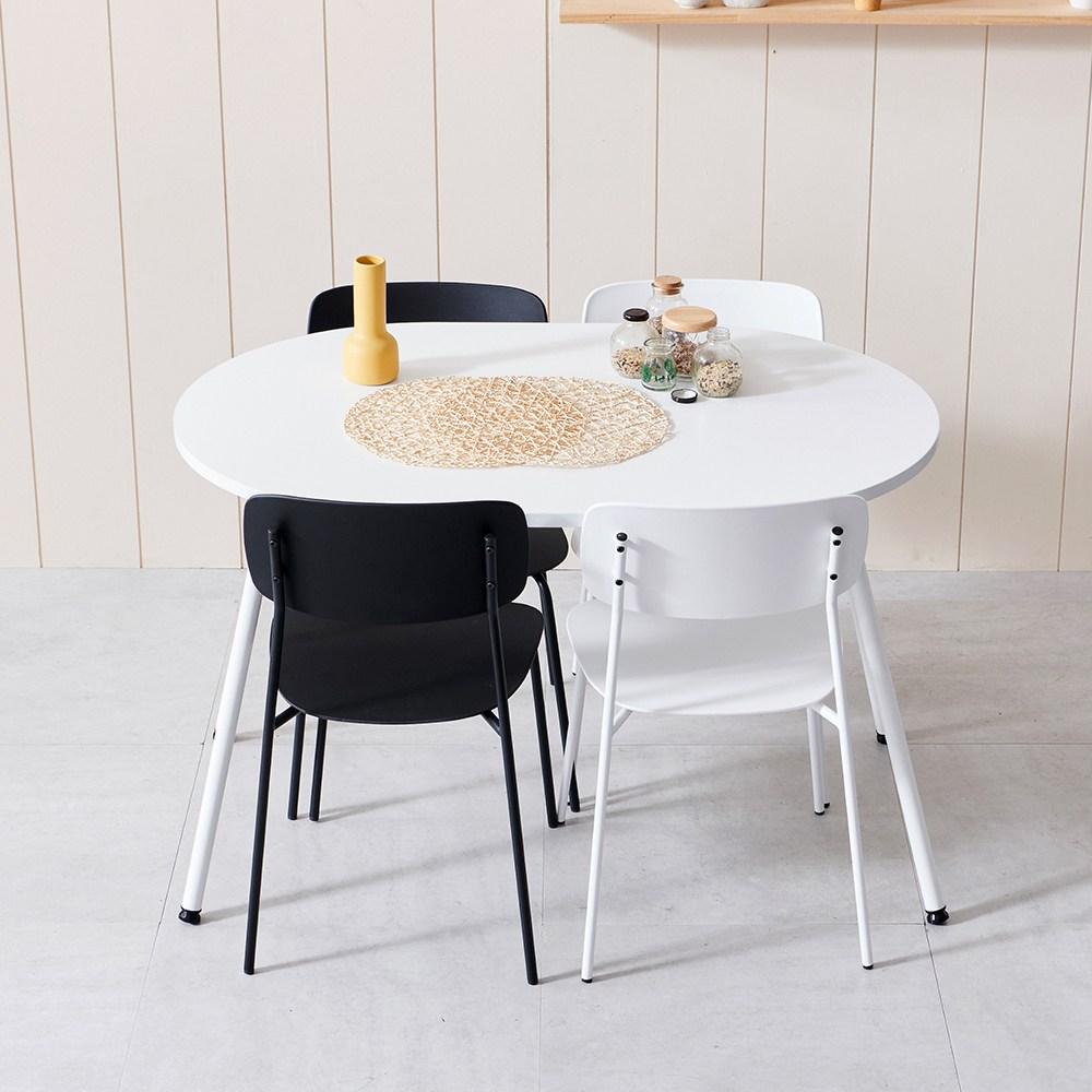 라자가구 하임 이지케어 4인 타원형 테이블, 화이트