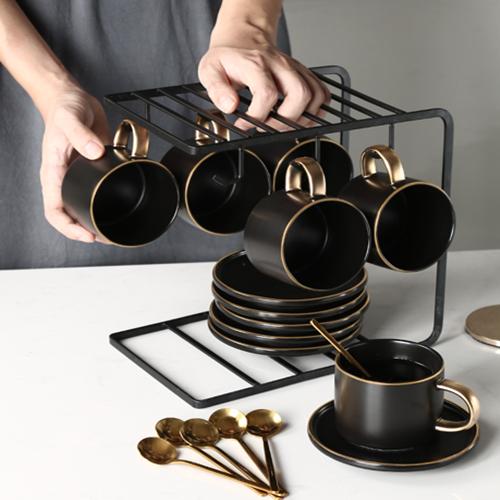 글로벌셀러 북유럽풍 고급 찻잔 커피잔 거치대세트 4p 6p, 블랙