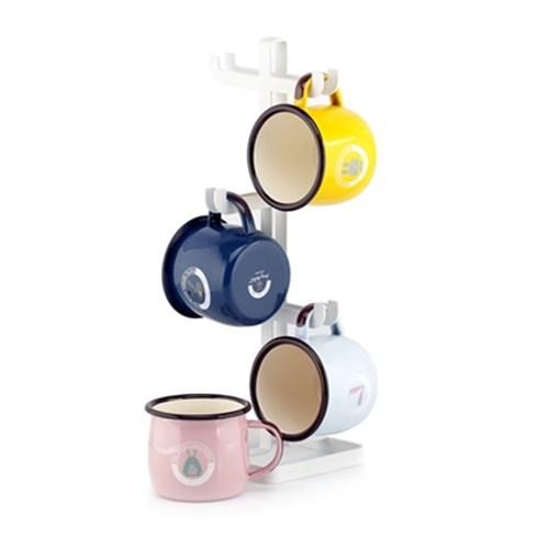 아트박스/로얄스타 RETRO 법랑 머그 4개 + 트리형 컵걸이, 본품