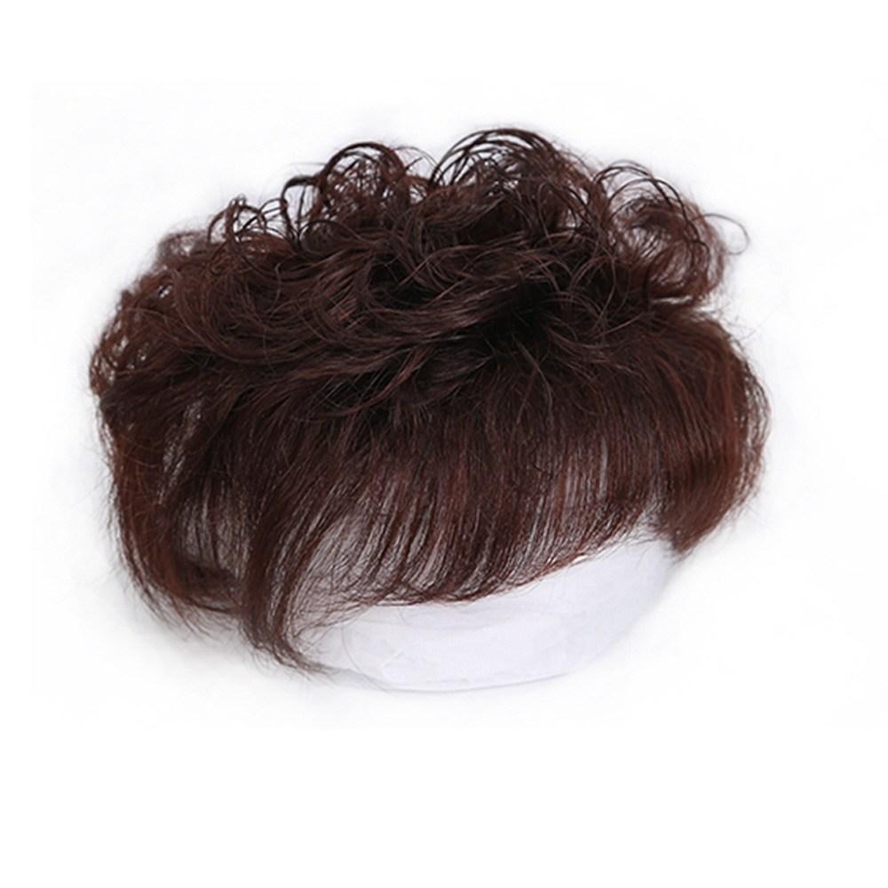 부분가발 오버헤드 여자정수리가발 여성 짧은곱슬 진짜머리, 1개, 내추럴 블랙 [14 x 15]