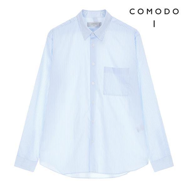코모도 여름세일 블루 코튼 스트라이프 긴팔 셔츠