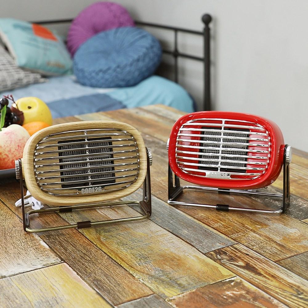 툴콘X코드26 가정용 캠핑용 탁상용 미니팬히터 전기온풍기, 우드, PTCF500