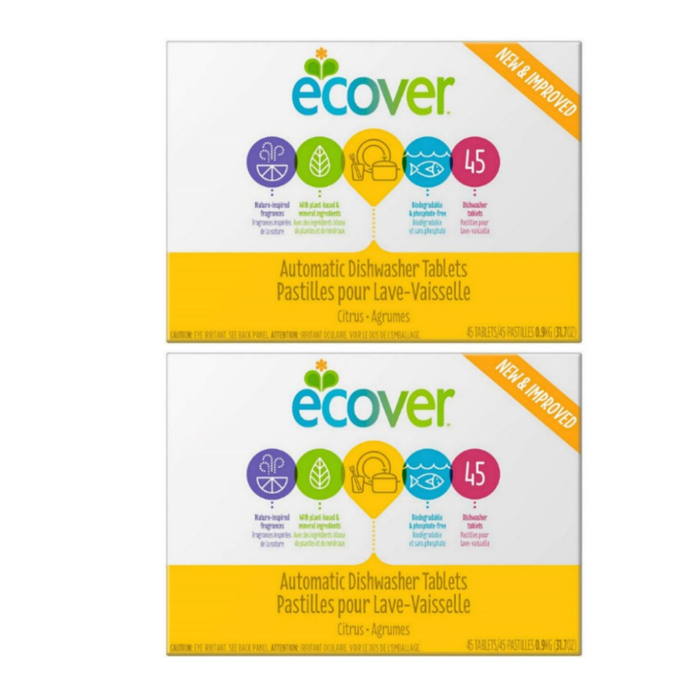 Ecover 에코버 식기세척기 세제 타블렛 시트러스향 45개입 31.7oz(900g) 2팩 Automatic Dishwasher Soap Tablets Citrus, 0.9kg, 2개