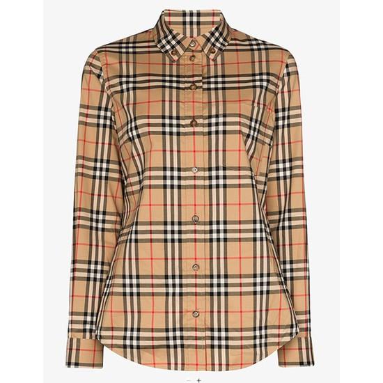 버버리 버튼다운 칼라 빈티지체크 여성 코튼 셔츠 8022284
