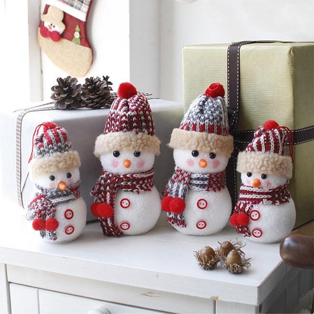 크리스마스 장식 뜨개모자 눈사람 인형 2P