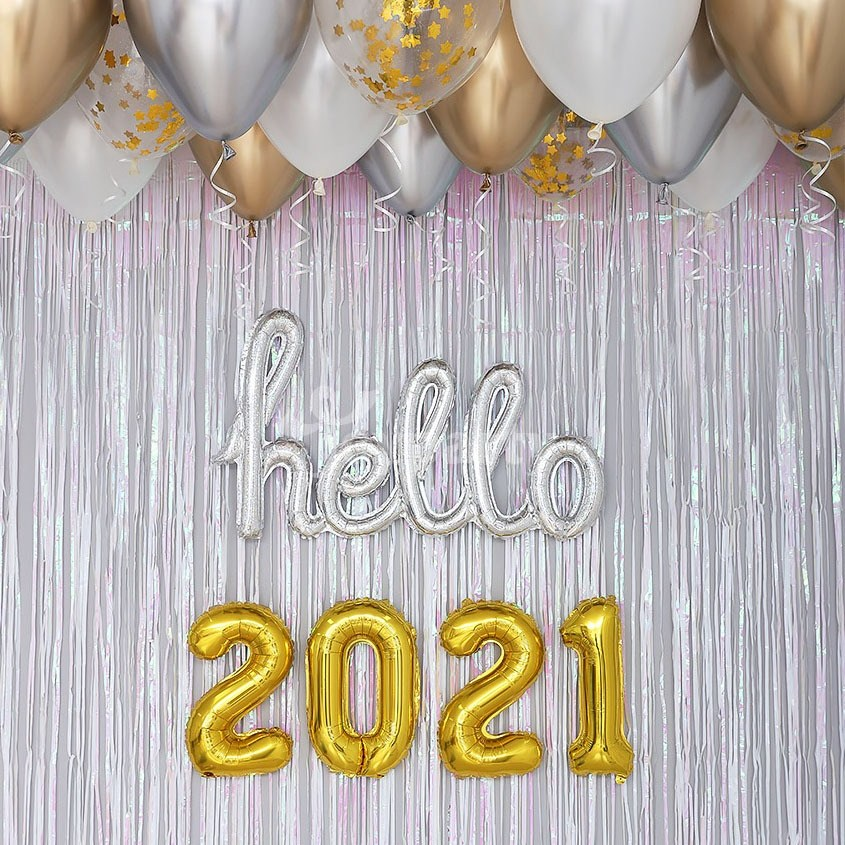 제이벌룬 HELLO 2021 신년 파티 용품 풍선 장식 세트, 필기체 실버톤