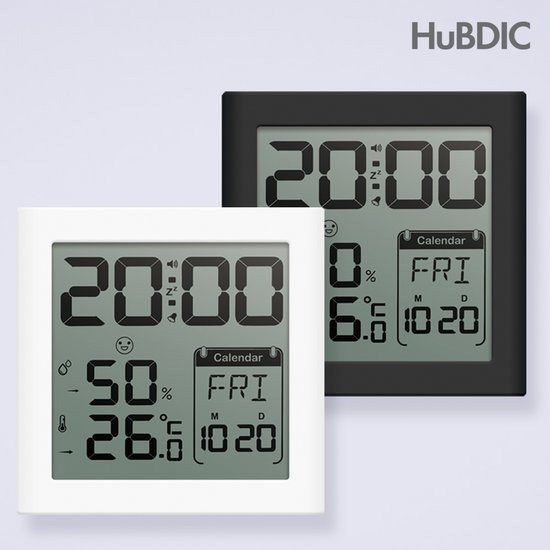 휴비딕 디지털 시계 온습도계 HT-5 달력, 1)화이트