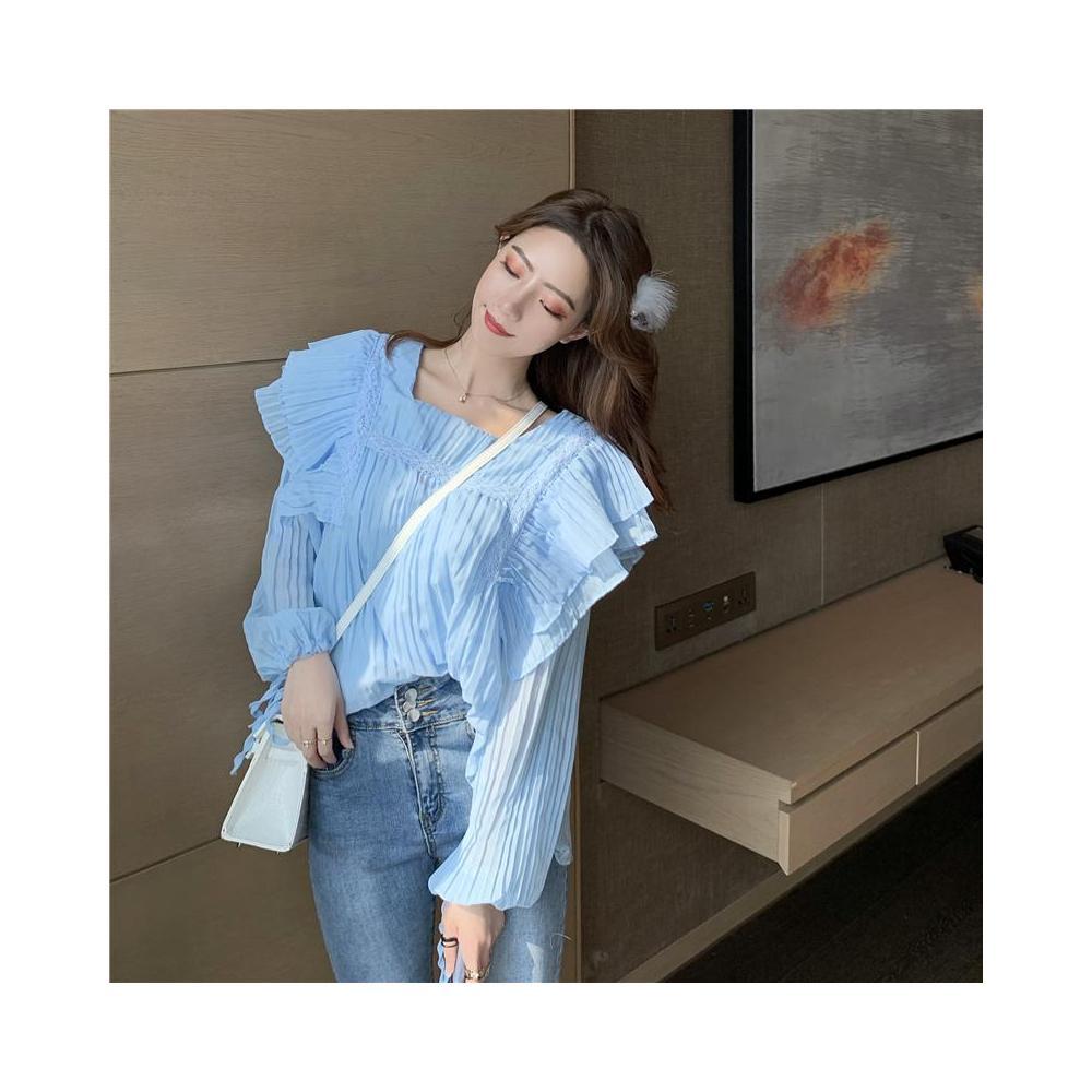 알지구 썸머 블라우스 실제 샷 가격 블루 프릴 느슨한 라운드 넥 플레어 슬리브 긴 소매 탑 쉬폰 셔츠