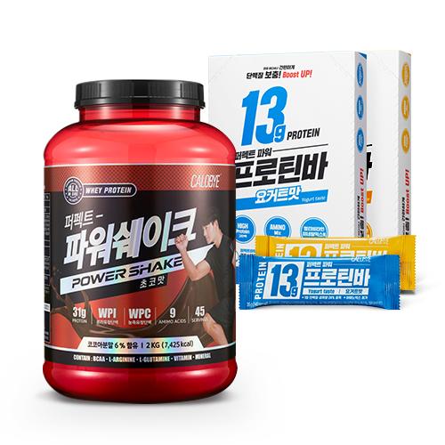 칼로바이 퍼펙트파워쉐이크 유청단백질 헬스보충제 2kg + 프로틴바 요거트맛 1box+프로틴바 바나나맛 1box, 2000g, 1개