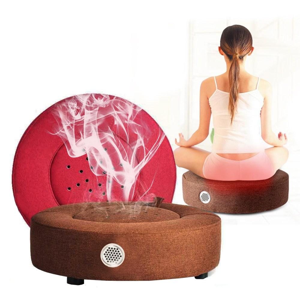 뜸방석 가정용좌훈기 건식좌훈기 산후조리 쑥 좌훈 방석 의자 뜸 - 브라운 색상, 1개