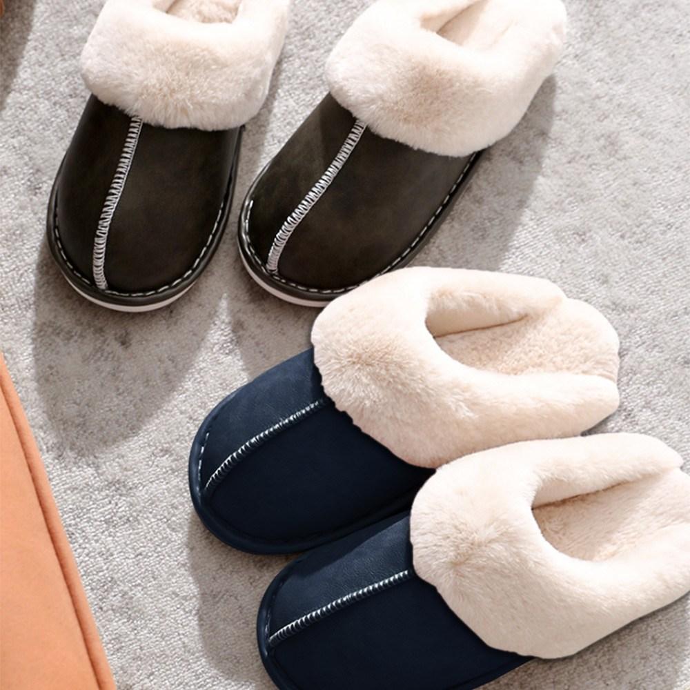 wa365 특가! European Bloafer 겨울 남성 여성 사무실 양털슬리퍼 거실 털실내화 오염방지코팅