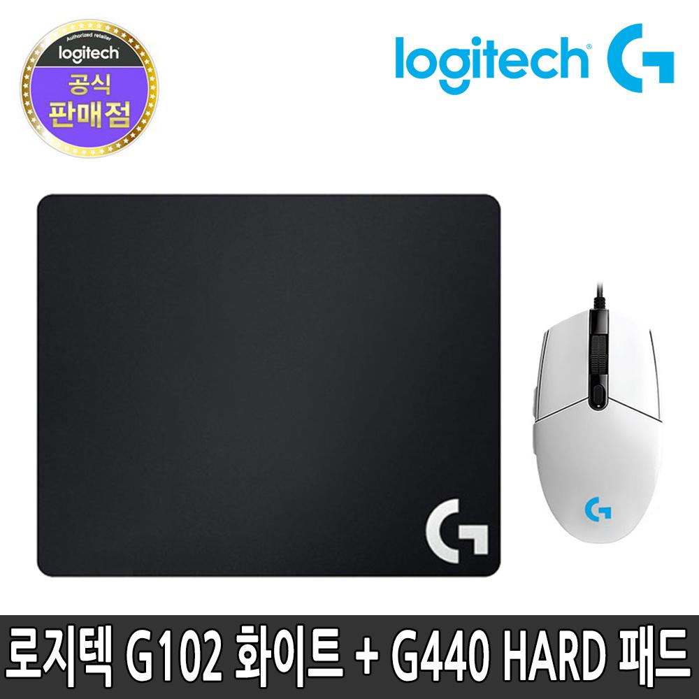 로지텍 정품 유선 마우스 G440 세트, 로지텍 G102 유선 마우스 화이트 + G440 마우스패드