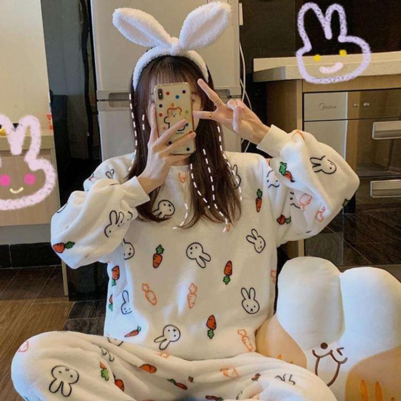 미피 당근 토끼 극세사 수면 잠옷 파자마 상하의 세트 홈웨어 이지웨어