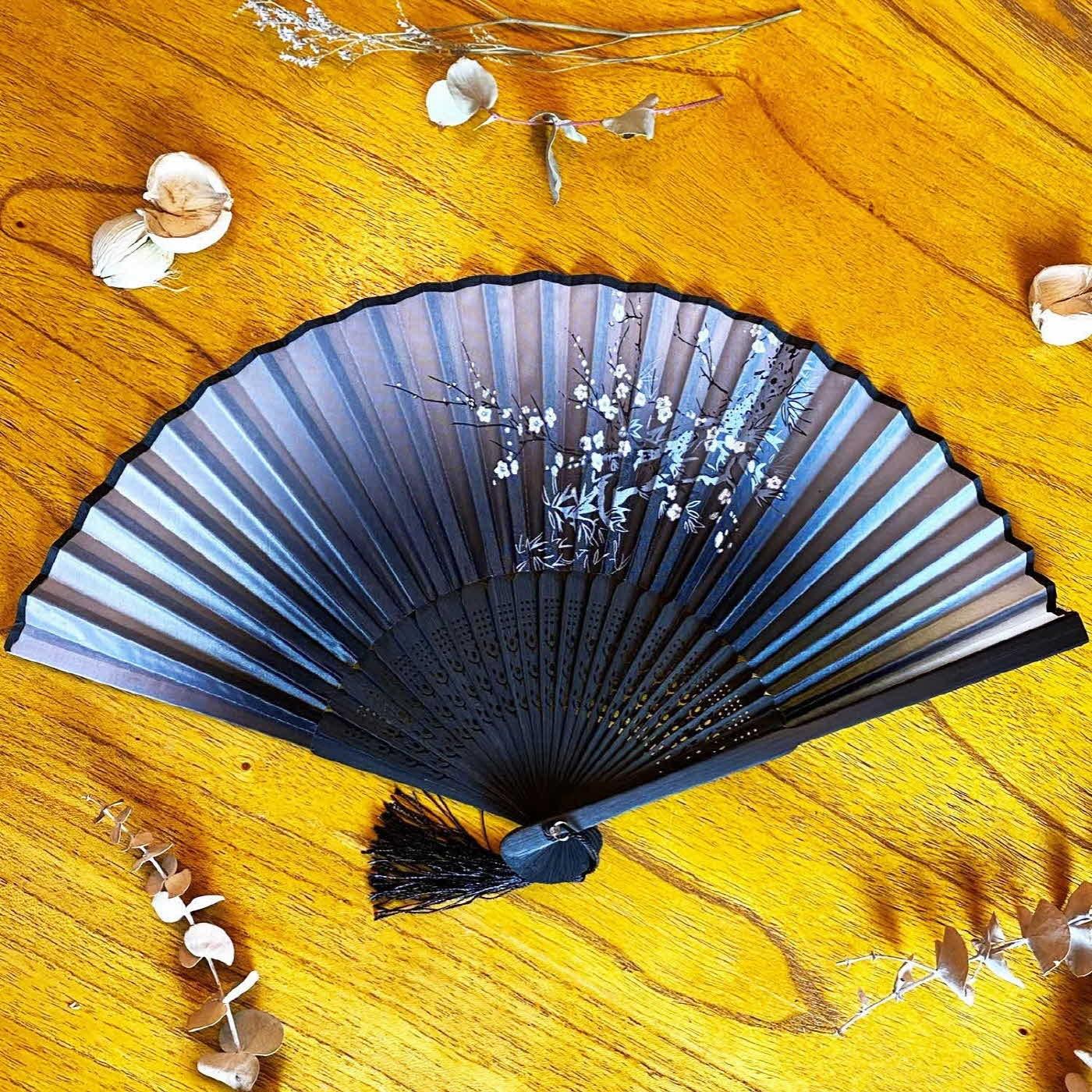 하마공방 수공예 타공 실크 전통 부채(매화나무), 1개, 기본