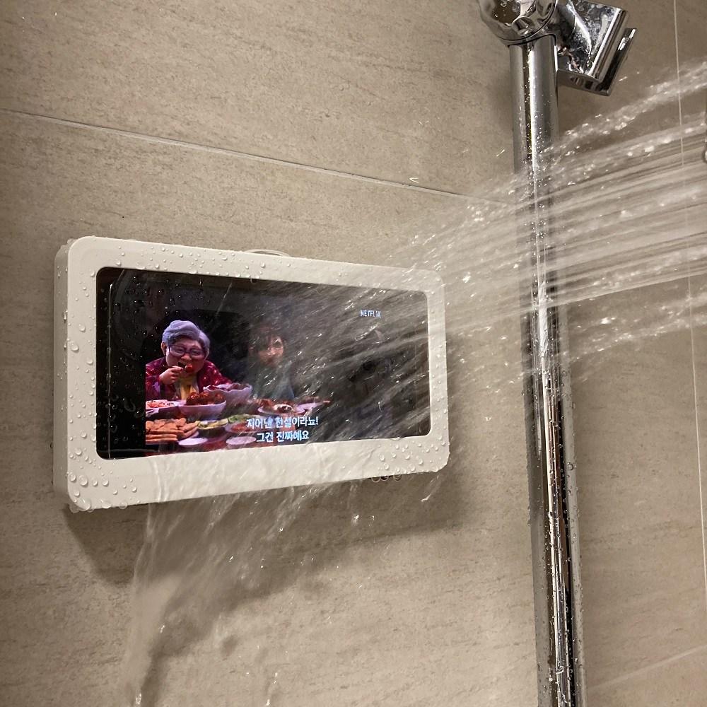 JIVA 화장실핸드폰거치대 핸드폰 자바라 욕실 방수 케이스 스마트폰 휴대폰 아이폰 침대 갤럭시 폴드 거치대, 네이비, 1개