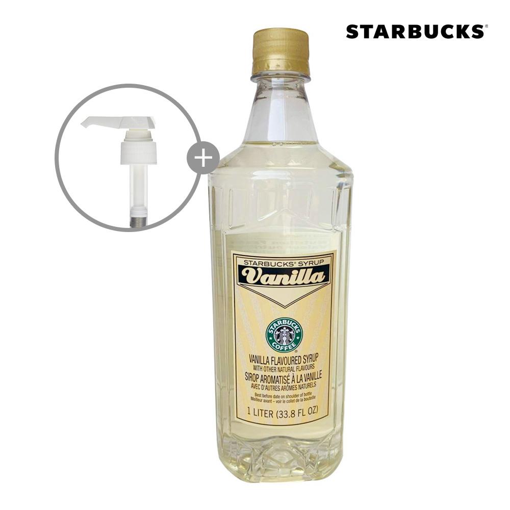 스타벅스 바닐라 커피 시럽 1L 대용량 펌프포함, Syrup-Vanilla-1L-33.8oz