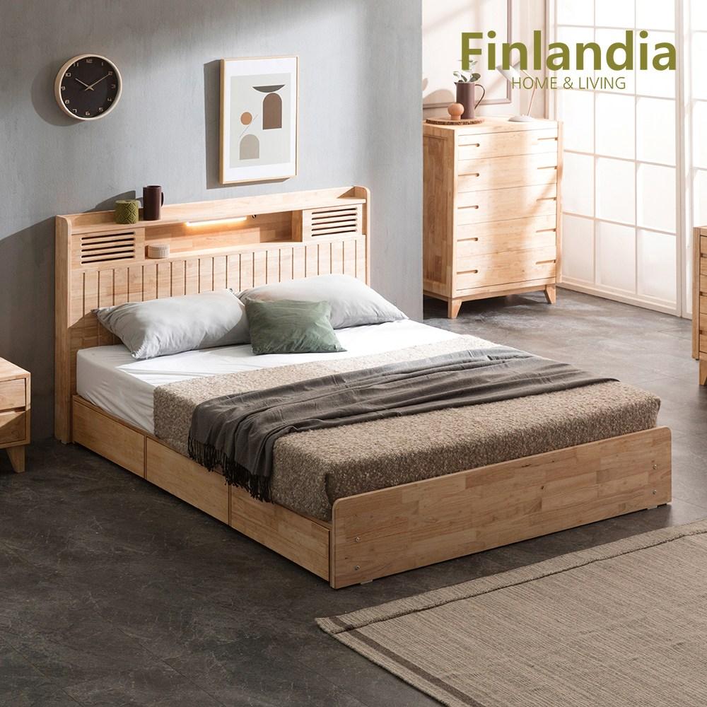 핀란디아 네이쳐 R100 수납LED 침대 Q(퀸)+40T라텍스독립매트리스, 단품
