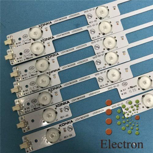 [해외] LED 백라이트 램프 스트립 54 LED KONKA 43 인치 TV LED43F26C LED43M26B 35020524 35020525720785YT 7 PCS, 상세내용표시