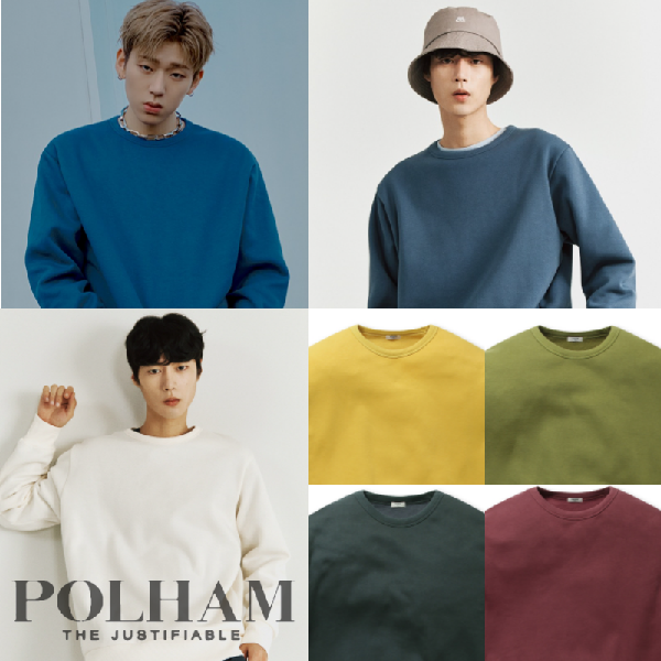 [현대백화점]폴햄 공용 베이직 솔리드 기모 맨투맨 티셔츠 PA