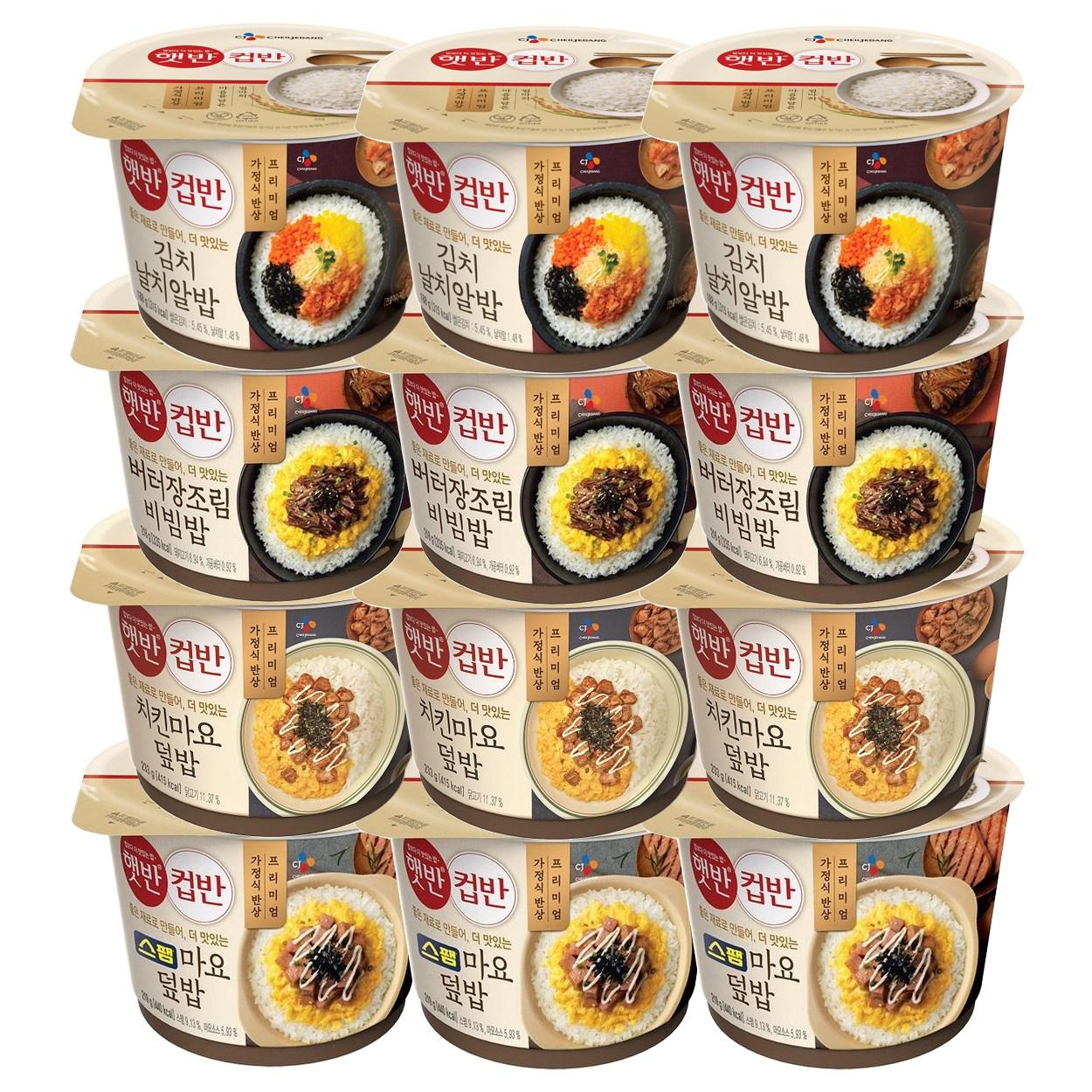 컵반 스팸마요3p+장조림3p+치킨마요3p+김치날치알밥3p, 12개, 212g