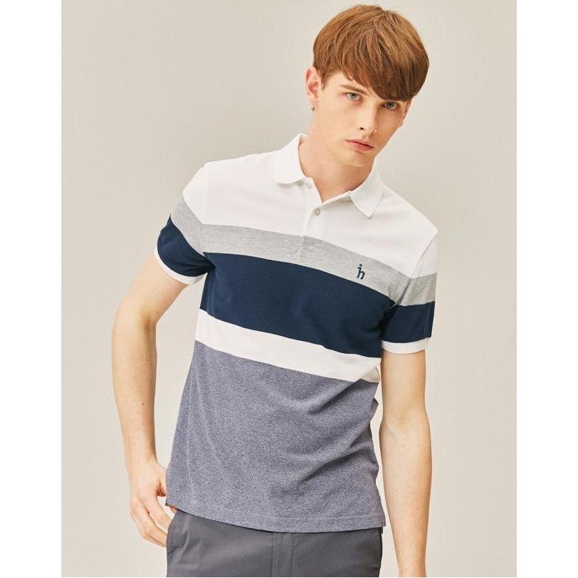 헤지스 남성용 19SS 컬러블록 면 반팔 폴로 티셔츠 WHTS9B433WT