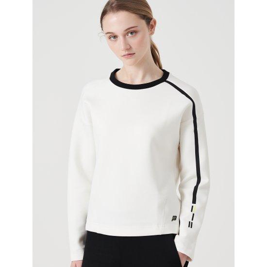 빈폴스포츠 화이트 여성 테크플리스 배색 티셔츠 (BO9941E011)